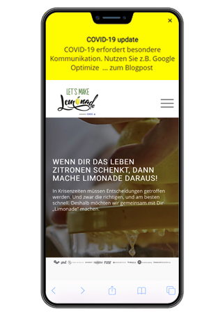 Google Optimize Hinweisbanner Mobile